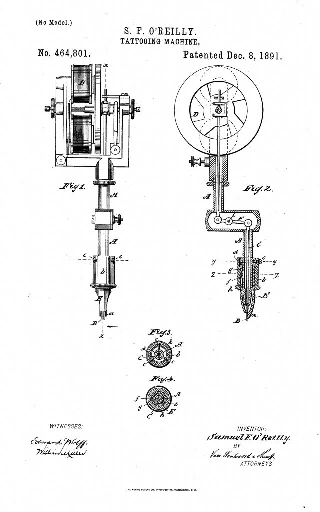 Samuel OReilly Tattoo Machine Patent Northeast Tattoo e1484862215659 641x1024 history of the electric tattoo machine northeast tattoo 3 Wire Electrical Wiring Diagram at suagrazia.org
